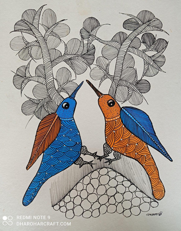 Love birds Gond painting